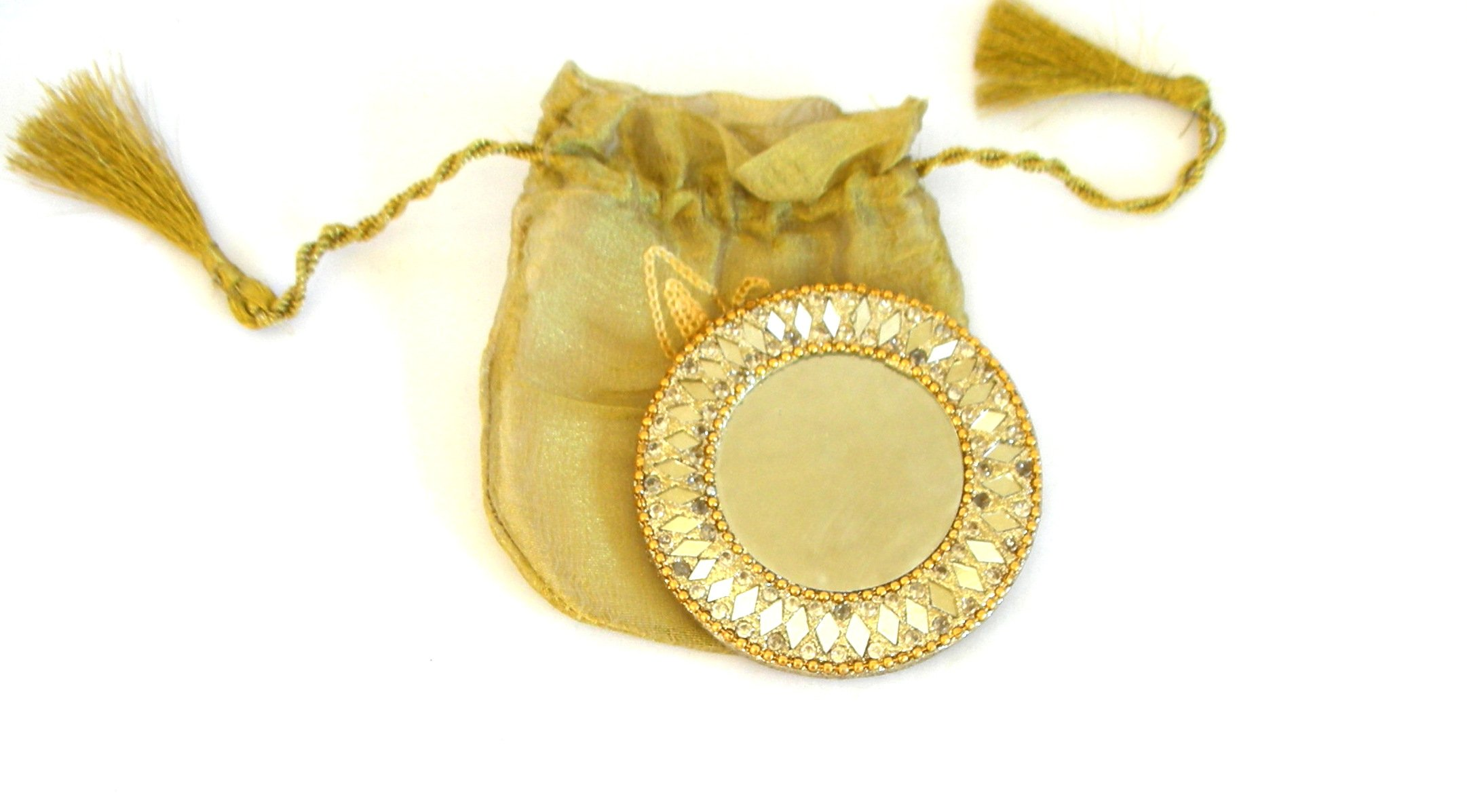 Handmade Gold Compact Mirror with Beads in a Gift Bag