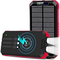 Deals on OIMYE Solar Charger 15W 30000mAh Wireless Qi Power Bank