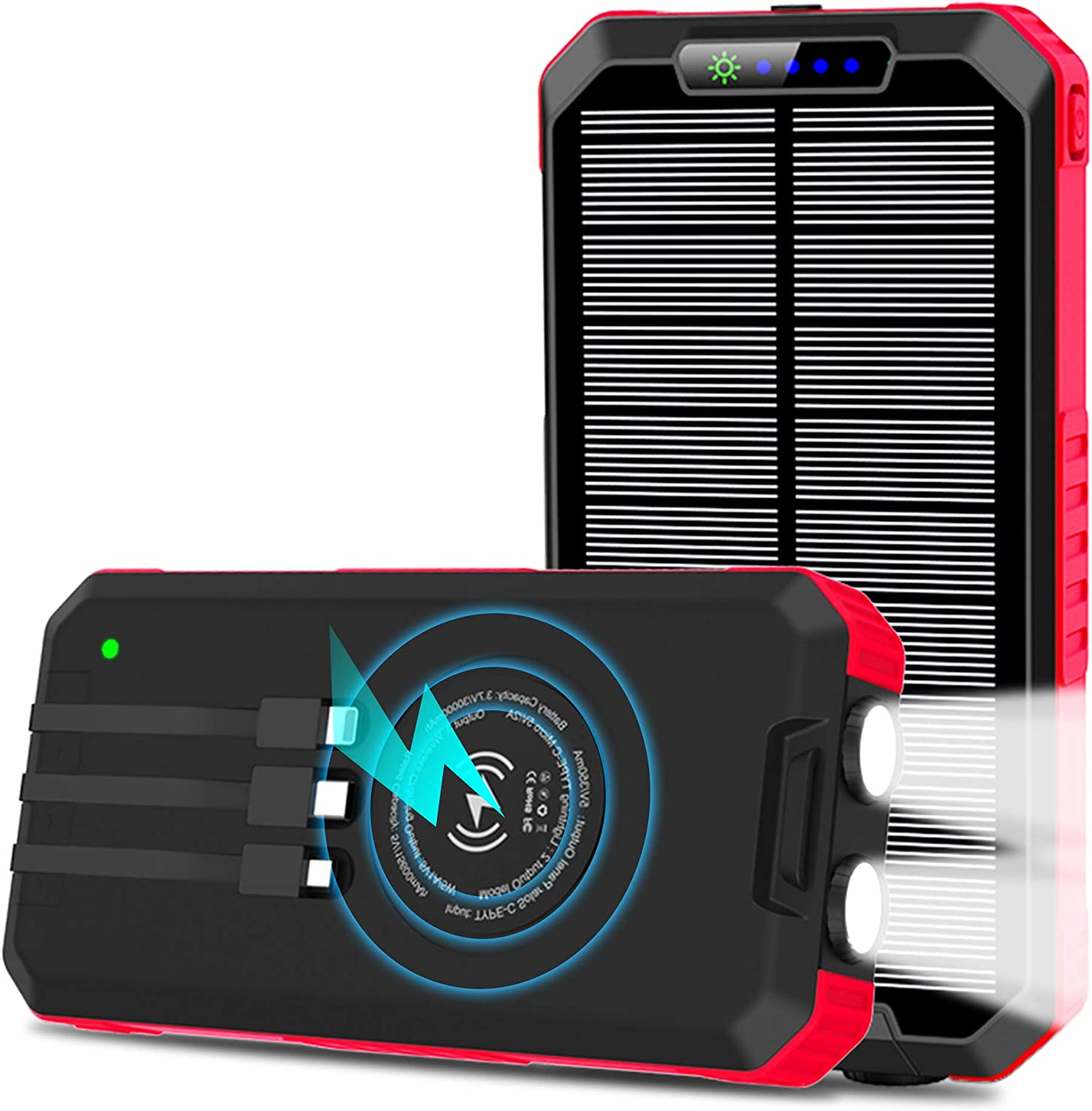 Tablets Compatible Smartphones Wireless Qi Portable Solar Power Bank External Battery Pack Waterproof Solar Phone Charger with LED Flashlights Switch Solar Charger 15W 30000mAh