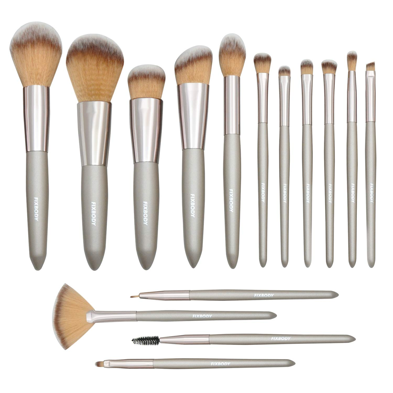 FIXBODY Makeup Brush Sets - 15 PCS Wood Handle Soft Synthetic Fiber Hair Kabuki Face Powder Blush Liquid Eyeliner Eyeshadow Lip Eyebrow Brush (Silver)