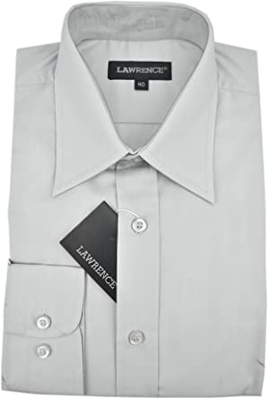 Lawrence el Hombre de Camisa Clásico Muy Gris Claro popelina Cuello Italiano - 15¾ 40: Amazon.es: Ropa y accesorios