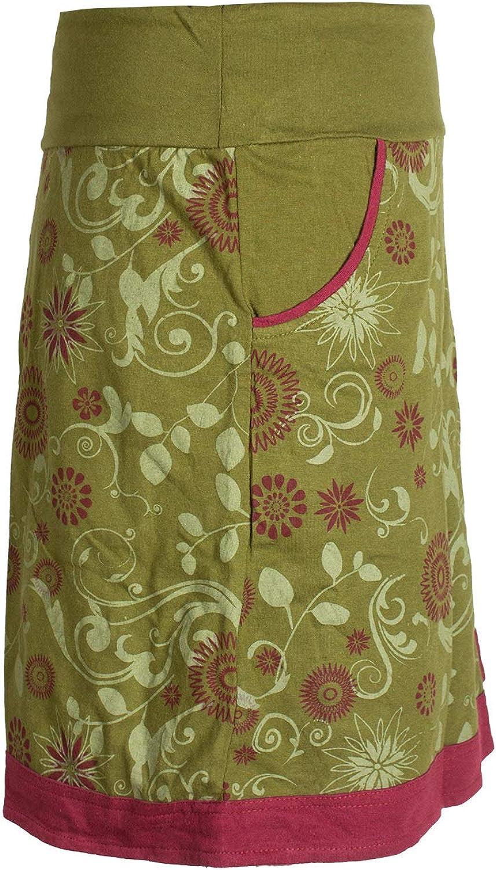 Alternative Bekleidung Vishes Damen Lagen-Look Blumen-Rock mit Mandalas und Tribals Bedruckt