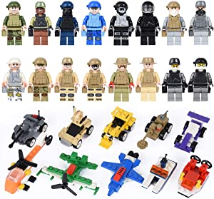 Mini Building Blocks Sets 26 Pack, Mini Figures Toys & Mini Building Vehicles Set Includes 16 Minifigures + 10 Vehicle Building Blocks, Building Kit Party Favors Birthday Gifts for Boys Girls