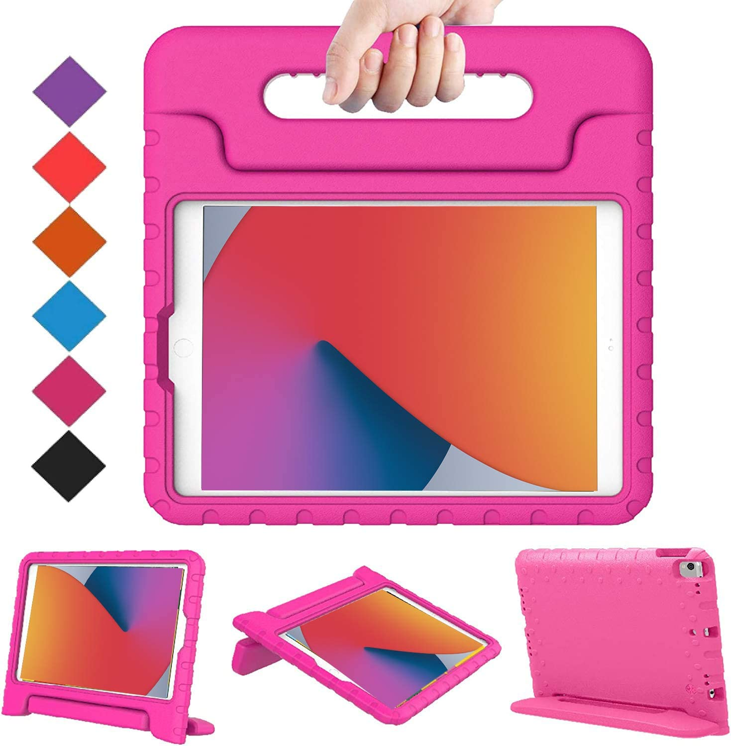 "BMOUO New iPad 10.2 2020/20219 Kids Case, iPad 8th/7th Generation Case, iPad 10.2 2020/2019 Case, Shockproof Light Weight Convertible Handle Stand Case for iPad 10.2"" Latest Model, Rose"