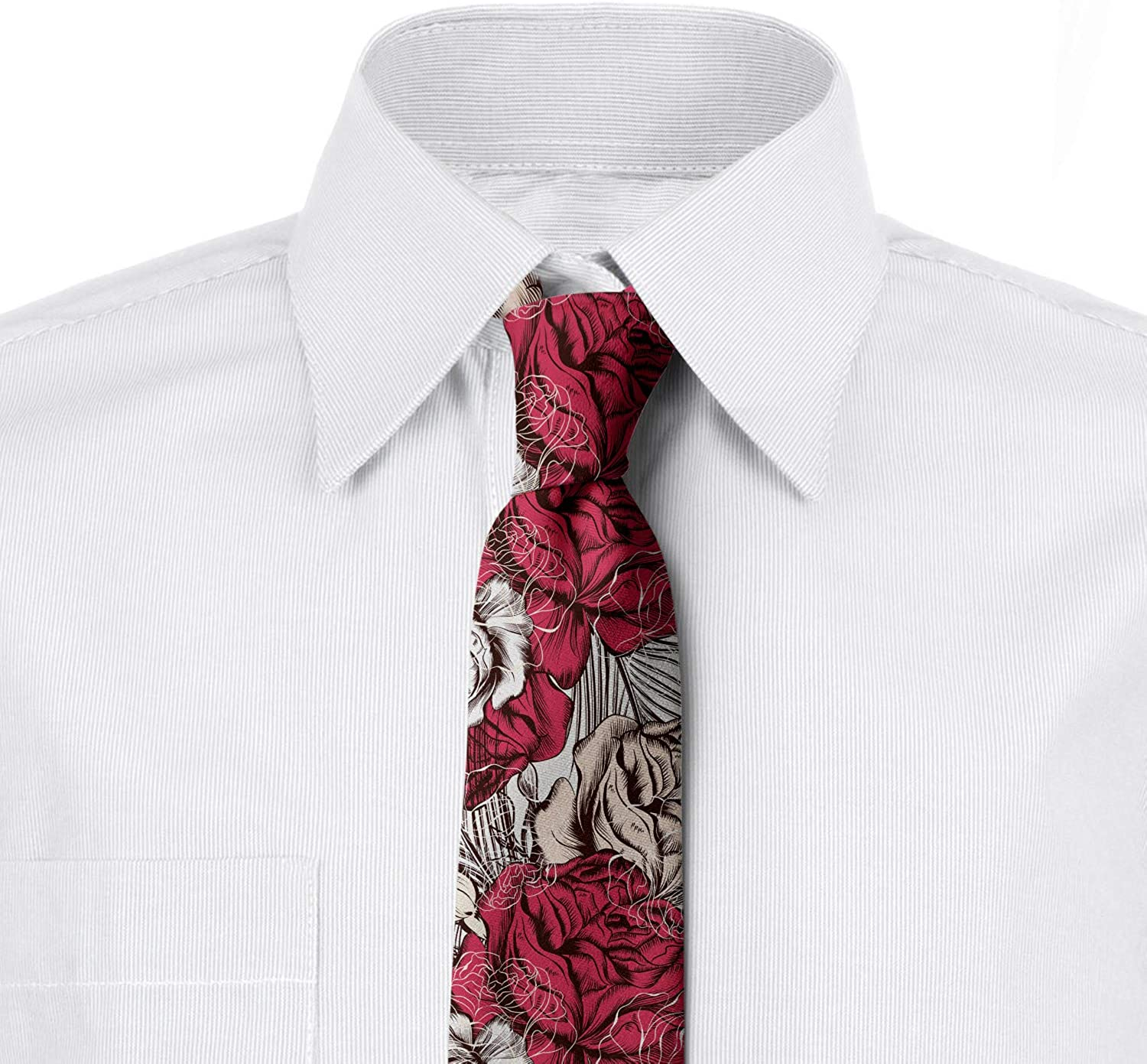 Pink Multicolor 3.7 Close up High Detailed Roses Ambesonne Mens Tie