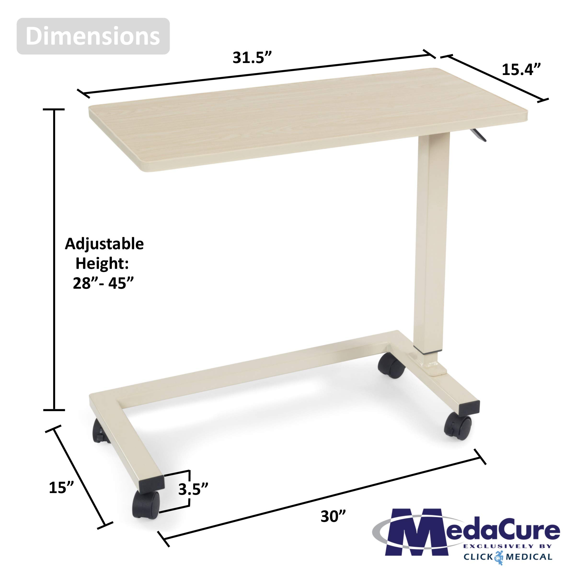 Medical Height Adjustable Overbed Table - Flame Resistant and Anti-Spill Rim - Heavy Duty Steel Frame and Swivel Locking Casters for Home, Hospital,Laptop, and Breakfast– 50lb Weight Capacity. (Oak) by Medacure (Image #1)