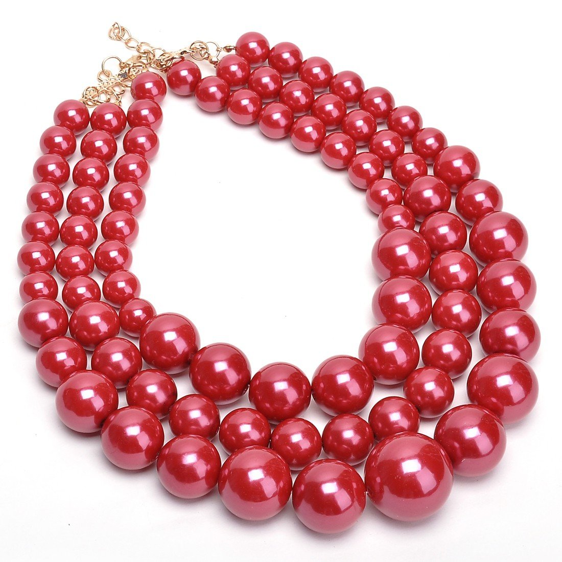 Fashion Resin Big Simulated Pearls Multi Strand 3 Layer Collar Evening Necklace Jerollin N0009513