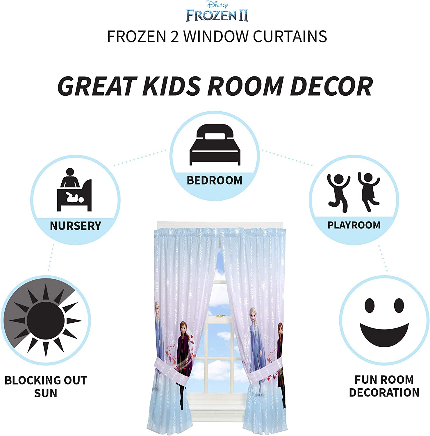 Disney Frozen 2 82 x 63 Franco Kids Room Window Curtain Panels with Tie Backs Drapes Set