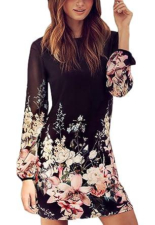 9a80e6933f BOLAWOO Donna Vestiti Chiffon Invernali Corti Eleganti da Cerimonia Vintage  Fiore Stampato Camicia Vestito Manica Lunga Matita Abito Mini Dress ...