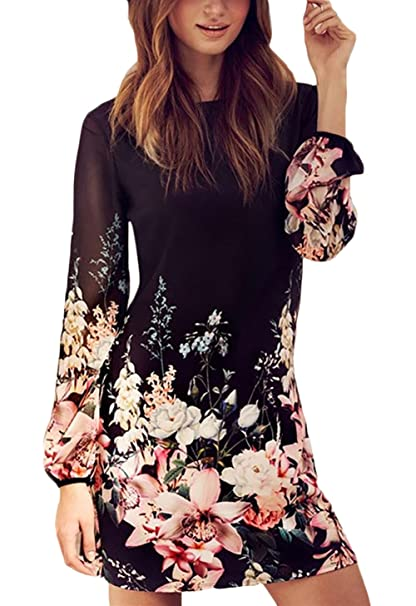 38cc708490 BOLAWOO Donna Vestiti Chiffon Invernali Corti Eleganti da Cerimonia Vintage  Fiore Stampato Camicia Vestito Manica Lunga Matita Abito Mini Dress ...