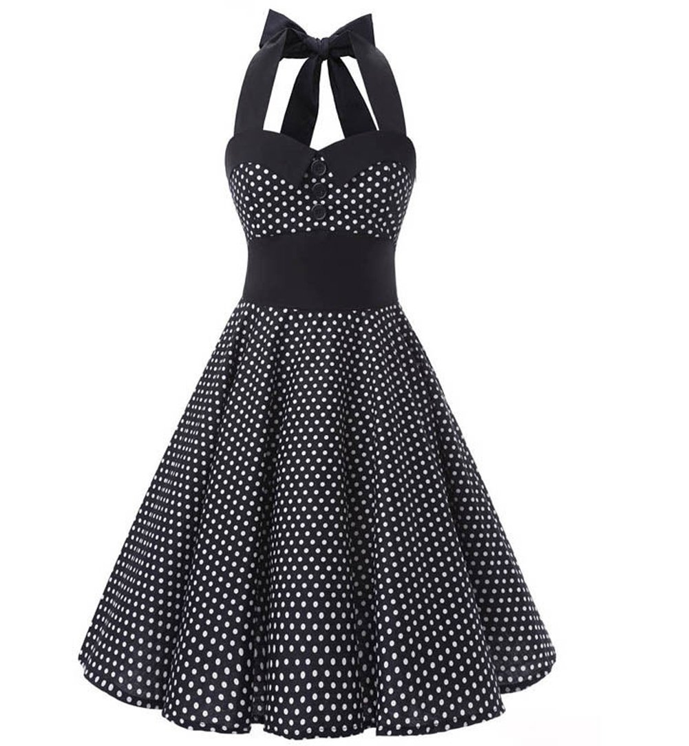 ZAMME Women's Halter 50s Vintage Swing Dress for Cocktail Party CNPWD005
