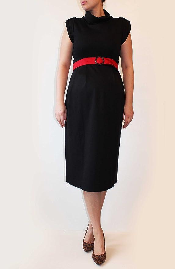 Cinturón de maternidad vestido negro, rojo, Midi longitud vestido, algodón suave tejido de punto, oficina maternidad vestido, fiesta dressmia maternidad, ...