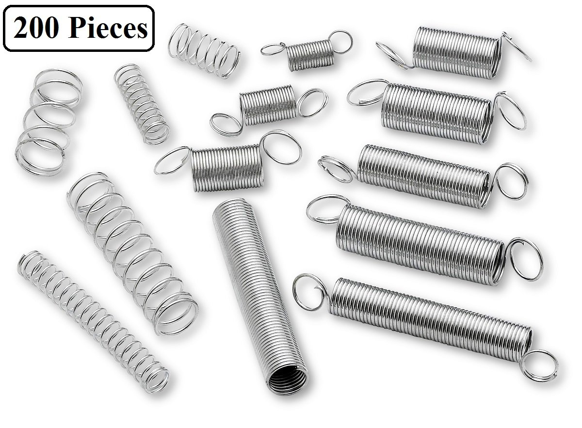 Compression And Extension Spring Assortment - 200 Piece Set Of Heavy Duty And Durable Compressed Spring - Tools & Equipment, Hand Tools, Automotive, Replacement Parts - By Katzco by Katzco
