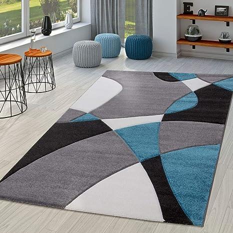 Image of TT Home Alfombra Salón Moderna Motivo Abstracto Perfil Contorneado Negro Gris Turquesa, Größe:160x230 cm