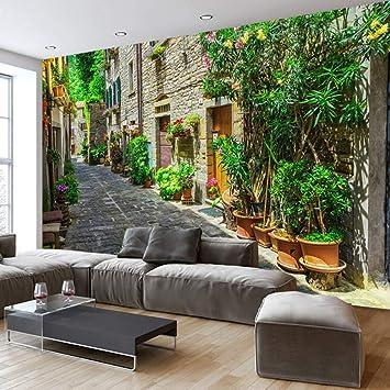 Custom 3D Wall Mural Wallpaper Europeo Small Town Street Paisaje ...