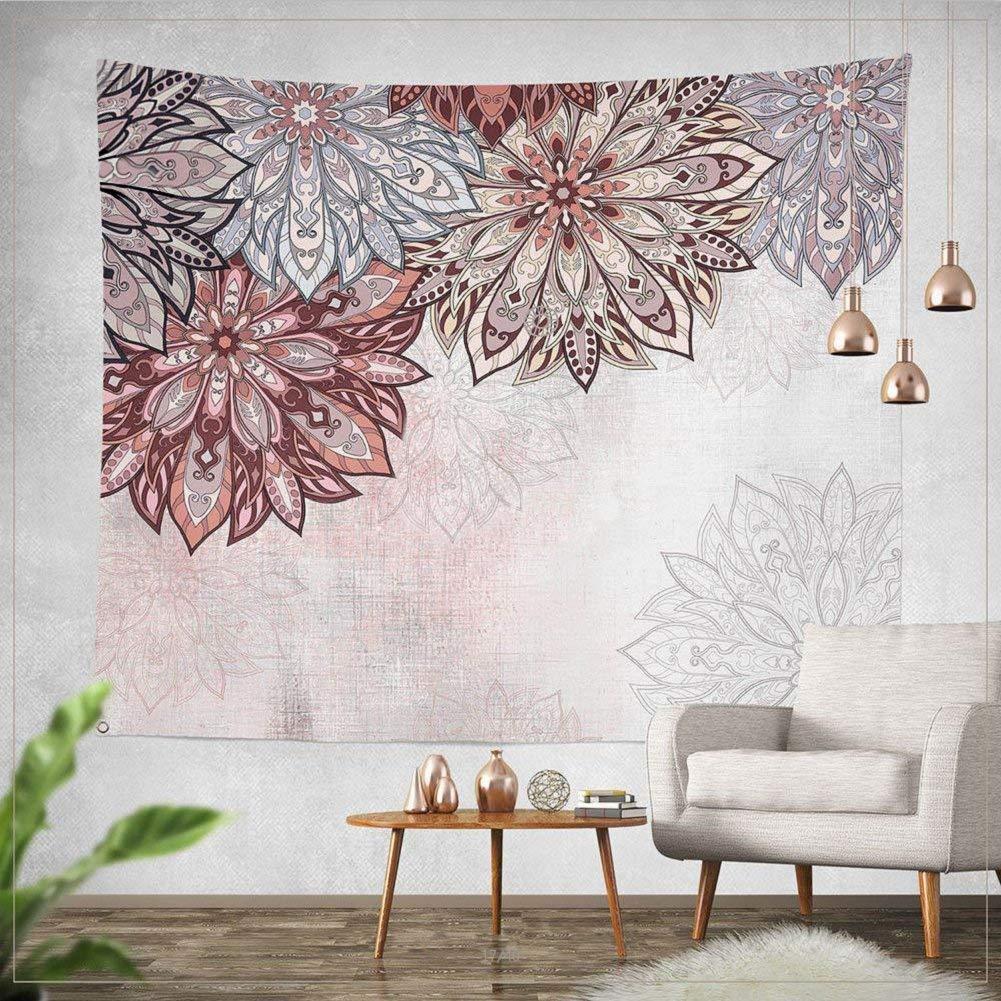 Jiamingyang Indian Mandala Flower Printed Tapestry Wall Hanging Tapestries Boho Bedspread Beach Towel (Large/80'' x 60'', Pattern 04)
