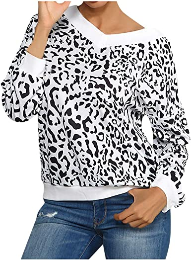 TOPKEAL Mujer Cuello de Pico Estampado de Leopardo Señoras Camiseta de Manga Larga Tops Blusa de Damas: Amazon.es: Ropa y accesorios