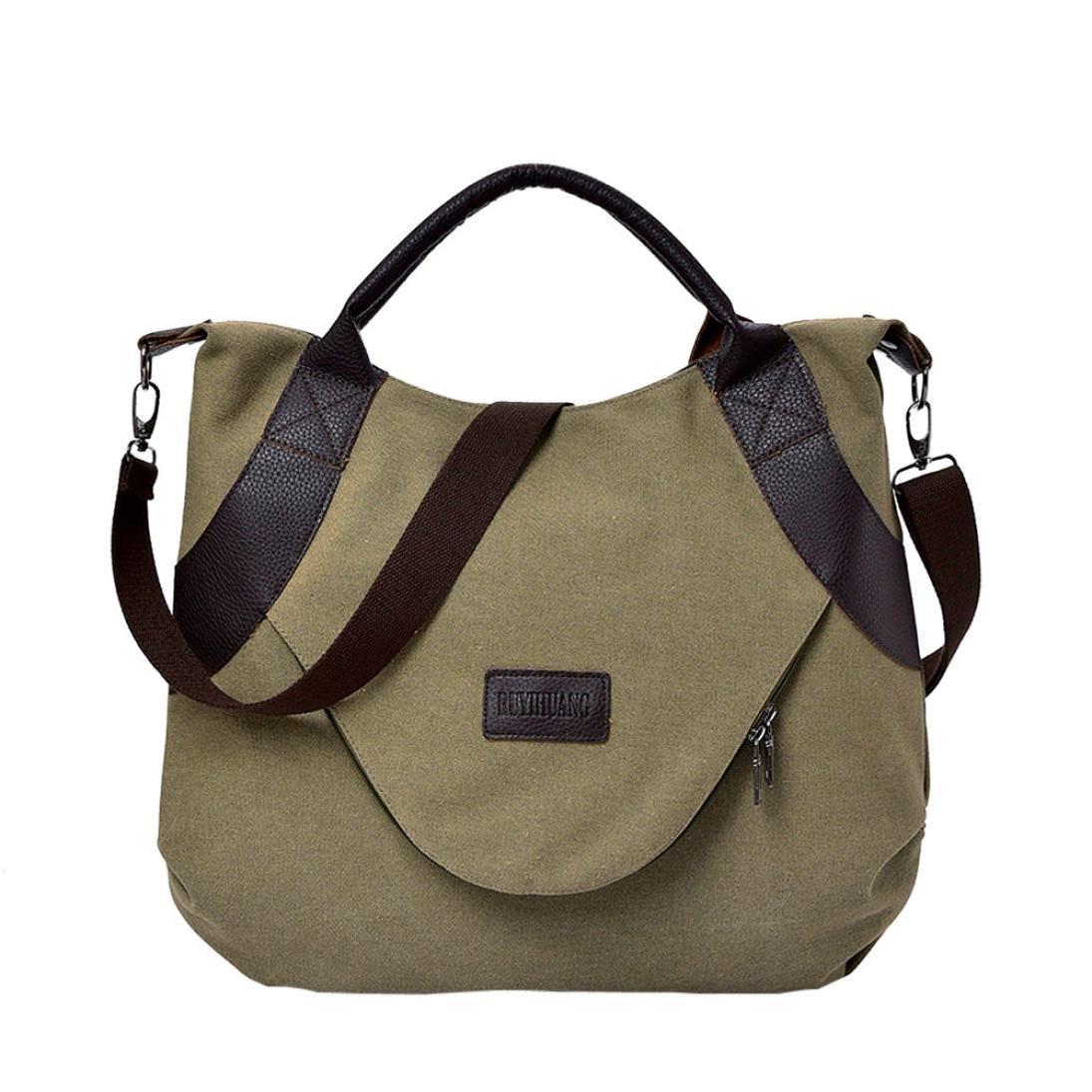 YJYDADA Bag,Retro Women's Canvas Zipper Shoulder Bags With Corssbody Bag&Handbag (Army Green)