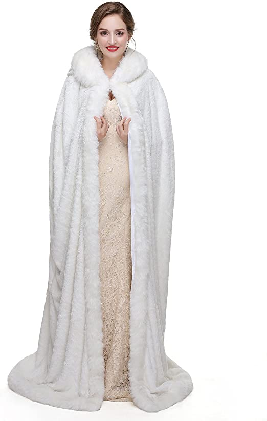 Fenghuavip Thicken Wedding Cloak Faux Fur Winter Robes Hooded Bride Capes with Armhole