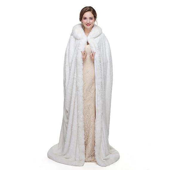 MEITEMEI Women Long Hooded Bridal dress cloak Bride Cape Wedding Cloak Winter Warm Party Scarves Wraps