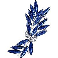 SELOVO Leaf Blue Rhinestone Brooch Pin Bouquet Accessory Gold Tone
