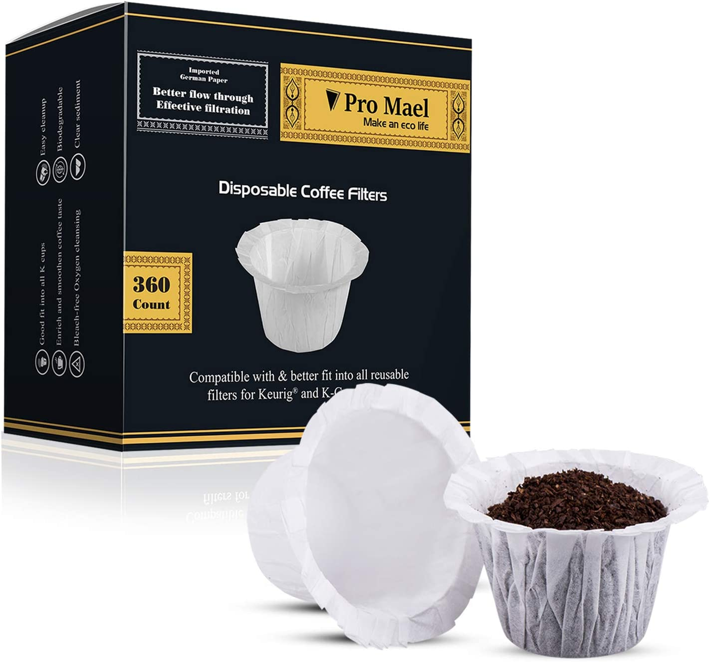 Disposable Coffee Filters 360 Counts Coffee Filter Paper for Keurig Brewers Single Serve 1.0 and 2.0 Use with All Brands K Cup Filter (1) 71xAB3XSaaL