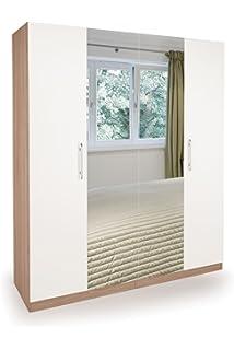 richmond modern bedroom furniture set in matt white and oak 4 door wardrobe with 2