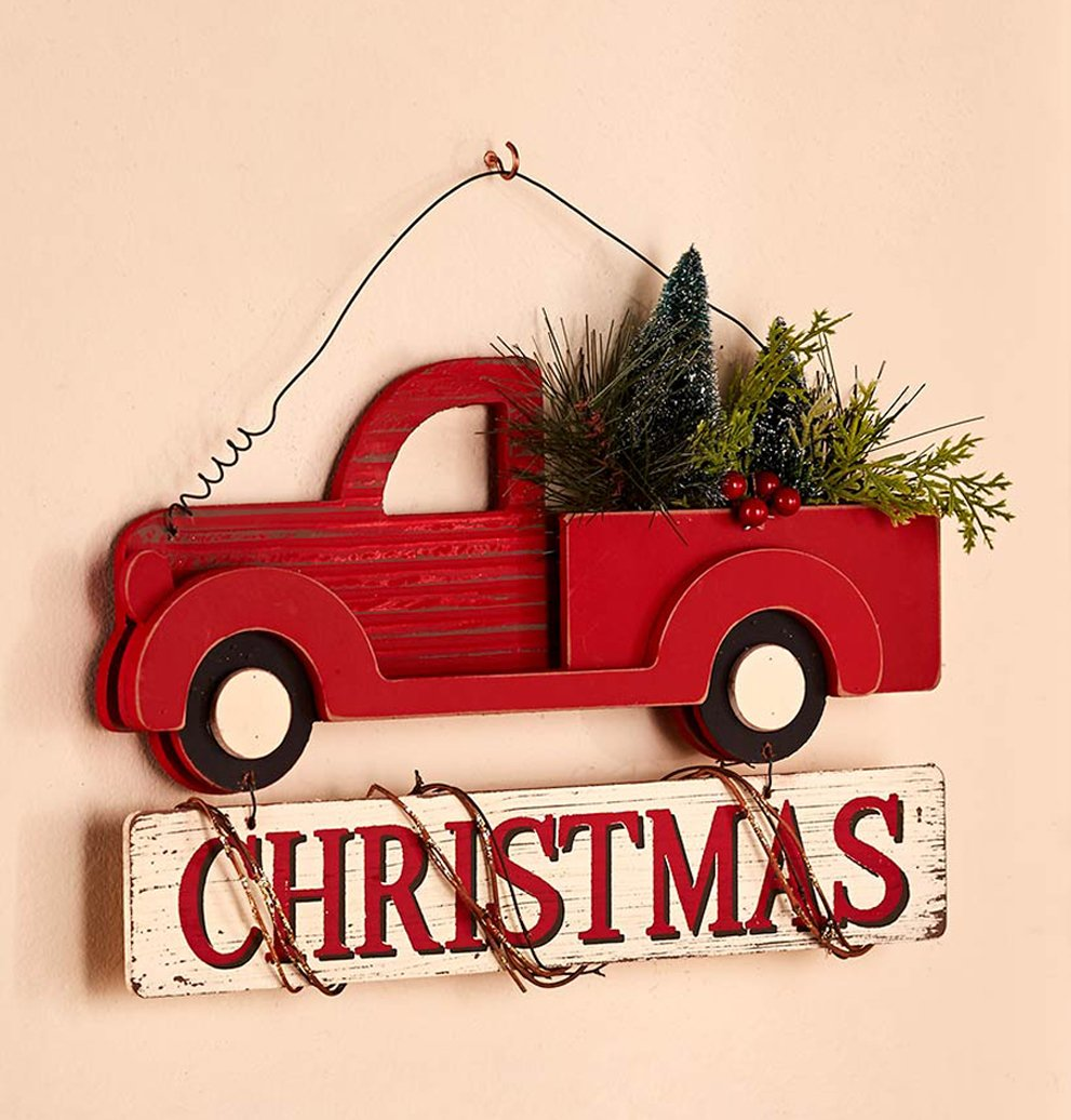amazoncom vintage classic holiday decor wall hanging wooden christmas truck home kitchen - Red Truck Christmas Decor