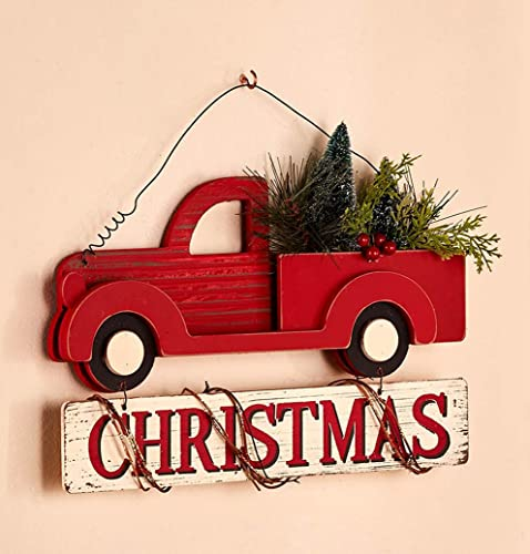 Country Christmas Wall Art - Red vintage truck loaded with Christmas trees is a beautiful addition to your Holiday decor