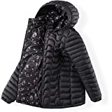 QLZ Girls Down Coat,Puffer Jacket,3-14 Years,Double-sided Wear,Camouflage