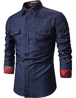 Lamore - Camisa vaquera para hombre, manga larga, estilo vaquero Azul Azul oscuro3 S: Amazon.es: Ropa y accesorios