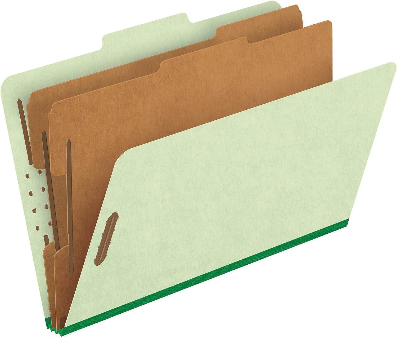 Pendaflex Top-Tab Pressboard Classification Folders, 2/5 Cut, 2 Dividers, Legal Size, Apple Green, 10 Per Box (2257G)