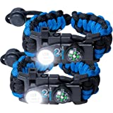 Nexfinity One Survival Paracord Bracelet kit for Men or women - Tactical Emergency gear with LED Light,550 grade, adjustable buckle, compact multitools, firestarter, compass, and whistle - 2 PACK