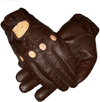REAL SHEEP MESH LEATHER DRIVING FASHION DRESS MEN/'S GLOVES TOUCH SCREEN brown