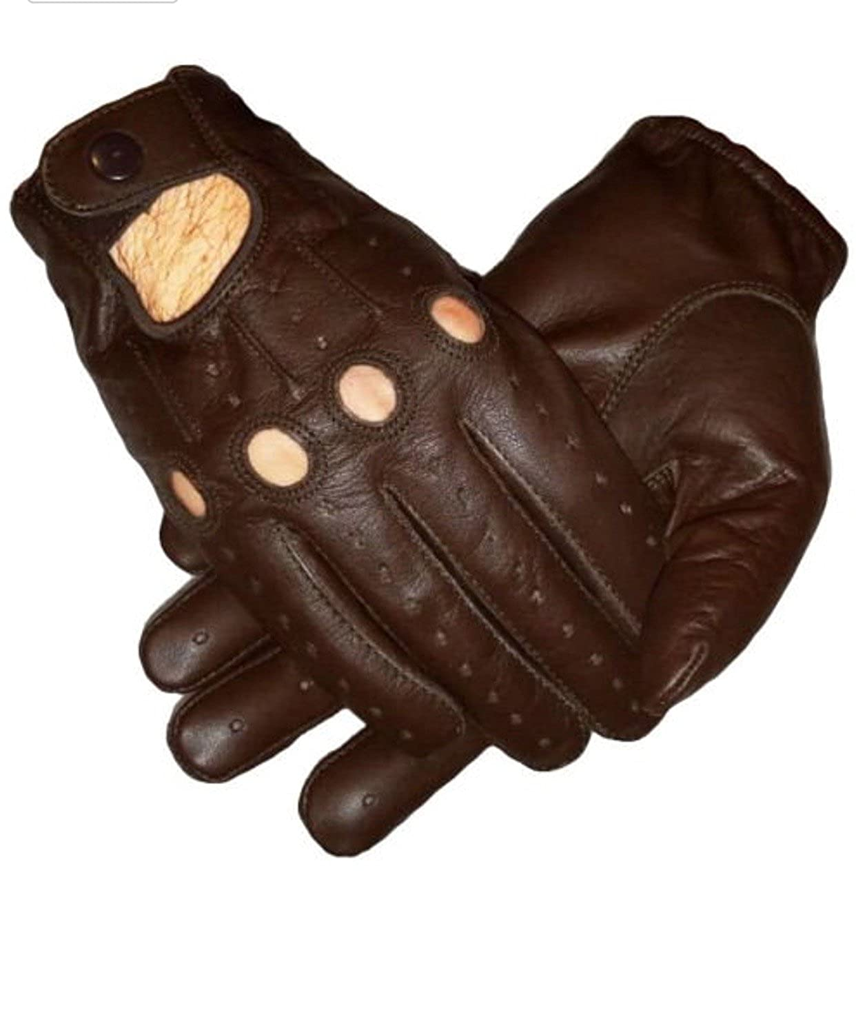 Mens Unlined Brown Leather Driving Gloves