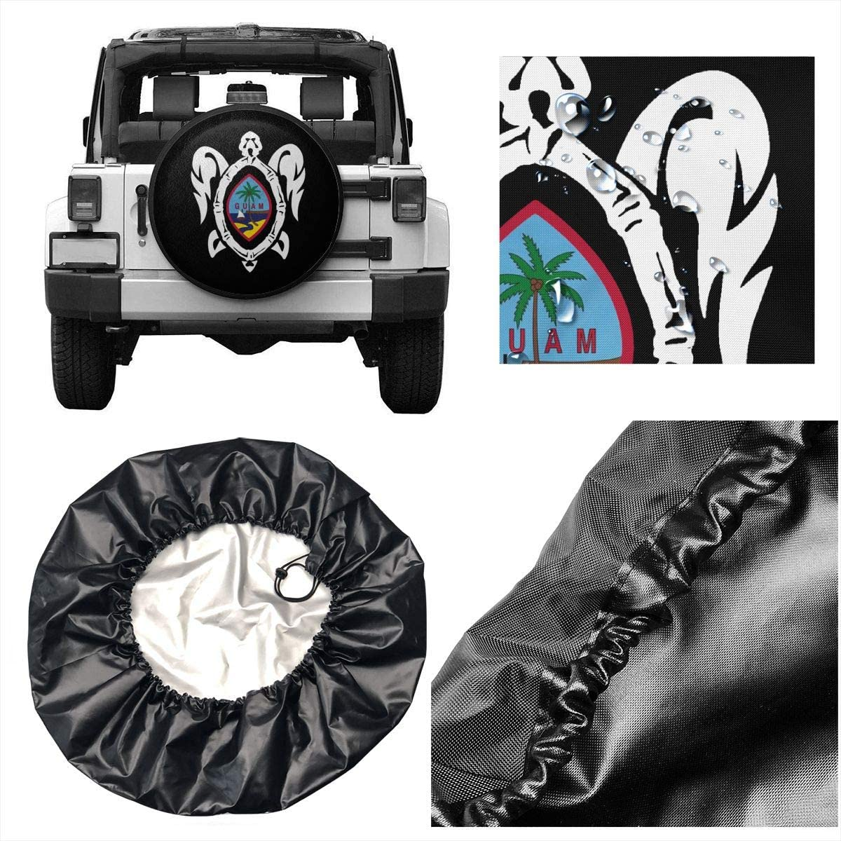SUV Truck and Many Vehicle Size 14 15 16 17 ZP-CCYF Guam Flag Turtle Universal Fit Tire Covers Waterproof Dust-Proof Spare Tire Cover for Jeep,Trailer RV