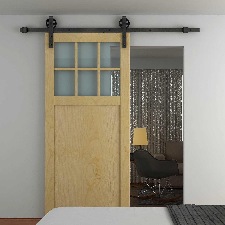 HOMCOM Modern Sliding Barn Door Closet Hardware Track Kit Track System Unit for Single Wooden Door 6FT /1830mm Sold by MHSTAR