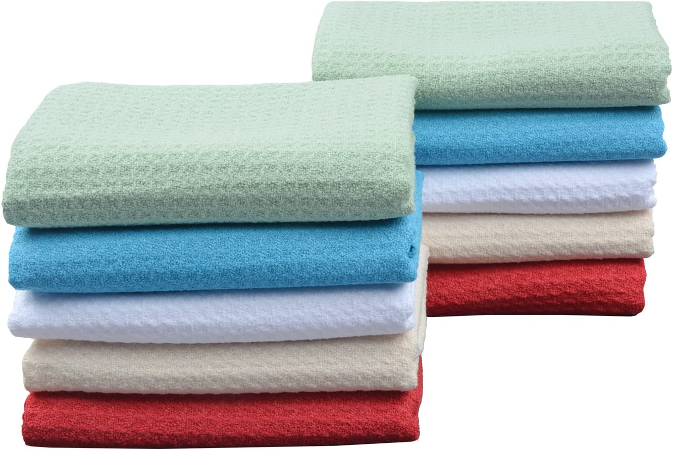 Dish Towel Ultra Soft Super Absorbent Fast Drying Machine Washable VIVOTE Waffle Weave Towel 4 Pack 16 Inch X 24 Inch White Microfiber Kitchen Towel