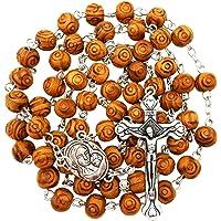 可漂白的仿古项链橄榄木雕刻珠 耶路撒冷土壤和十字架礼盒