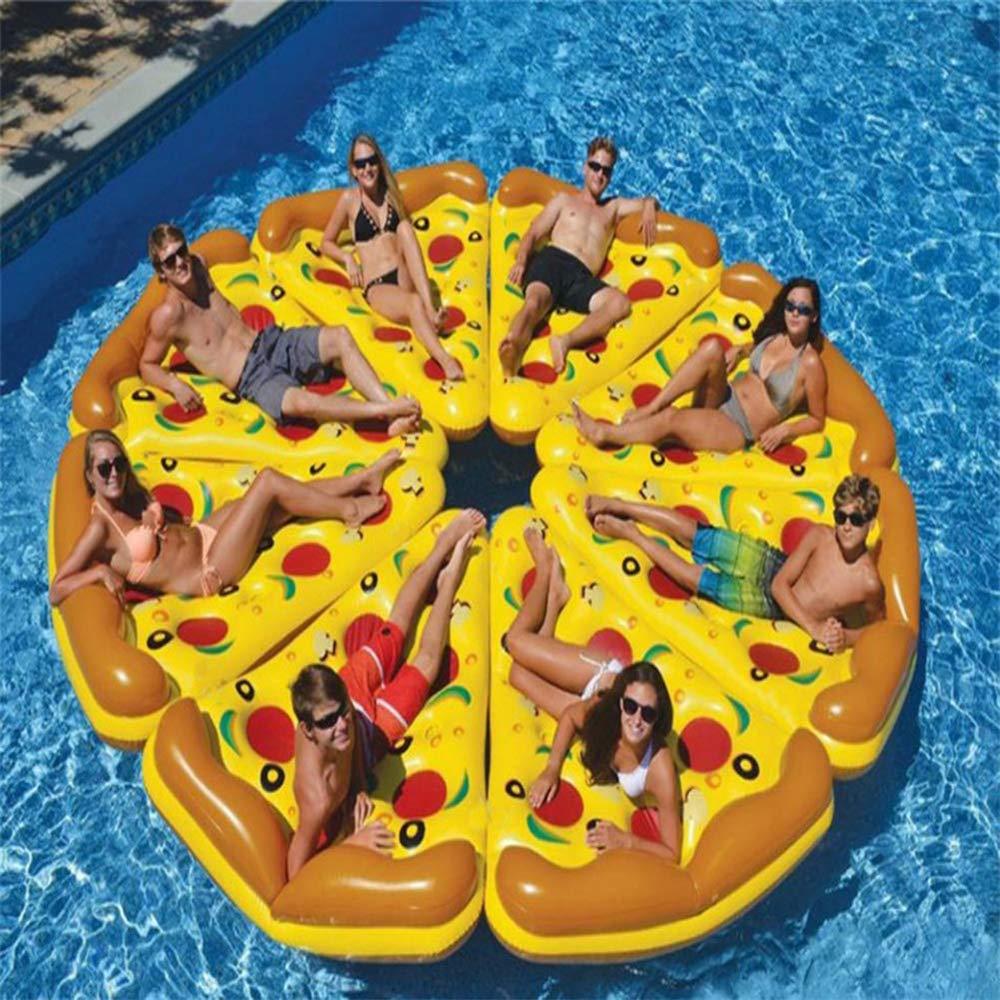 WXH Riesiges aufblasbares Pizza-geformtes Floss-Scheiben-Spaß-Pool-Floß, Schwimmen-Partei-Wasser-Spielzeugsitz, buntes Sich hin- und herbewegendes Bett, 75  60  Qualitäts-PVC-Material