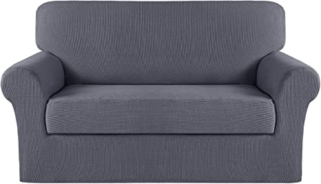 2 Pieces Anti-Slip Spandex Fabric Super Soft Sofa Slipcover Stretch Loveseat Couch Slipcover with Separate Cushion Cover 2 Seater Loveseat Covers with Elastic Bottom Sand