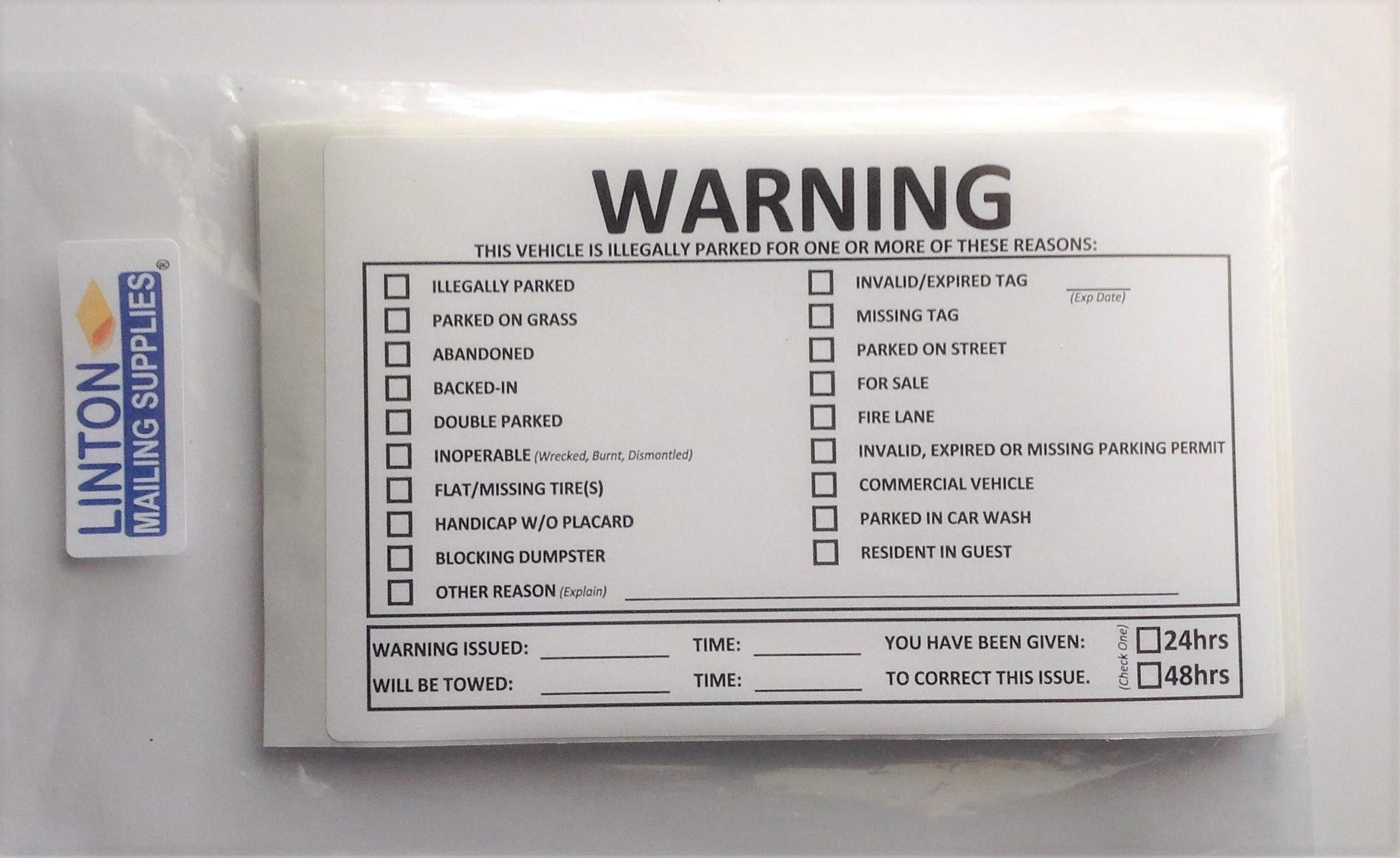 Warning, This Vehicle is Illegally Parked for Following Reason(S):, 8'' X 5'' Stickers, Removable Adhesive - Pack of 40 Stickers