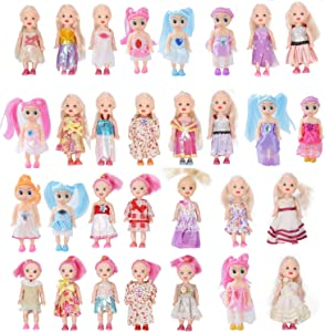 Huang Cheng Toys Pack of 10 4'' Mini Doll with Colorful Clothes Costume