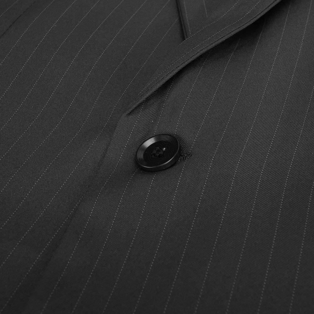 HOTK Mens Suits Slim Fit 3 Piece Pinstripe Groom Tuxedos Notch Lapel Business Formal Suits