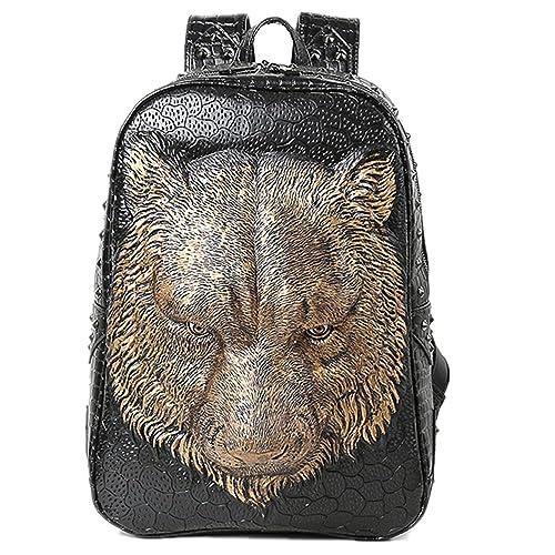 Bolsa de hombro doble 3D Tiger Head iPad mochila (Gold)