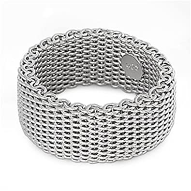 eecab2ddc Sterling Silver Women's Mesh Ring Wholesale Pure 925 Wide Band 10mm Size 5