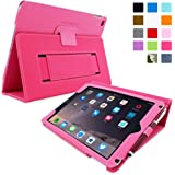 iPad Air 2 Case, Snugg - Hot Pink Leather Smart Case Cover [Lifetime Guarantee] Apple iPad Air 2 Protective Flip Stand Cover with Auto Wake / Sleep