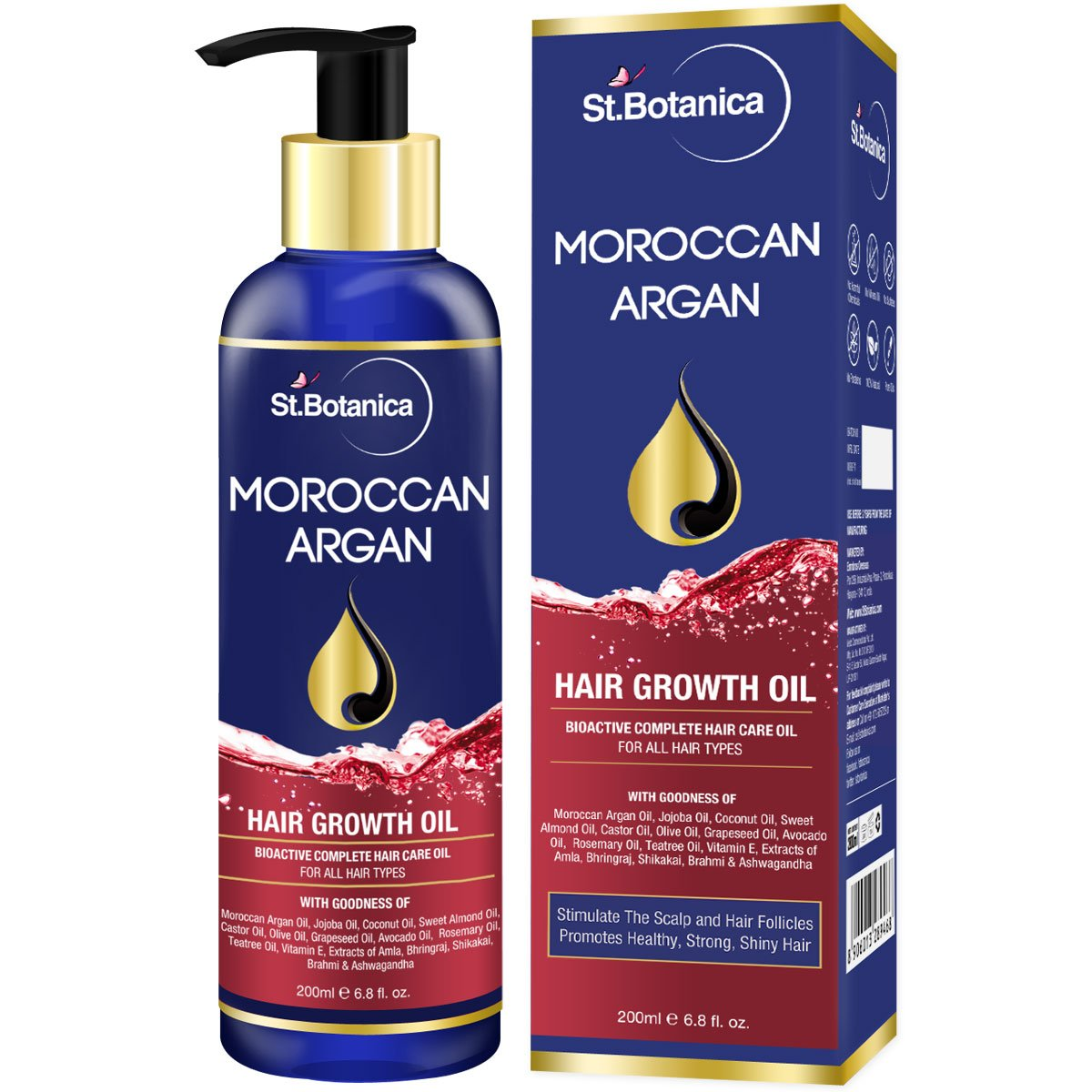 StBotanica Moroccan Argan Hair Growth Oil (With Pure Argan, Jojoba, Almond, Castor, Olive, Avocado, Rosemary Oils), 200ml product image