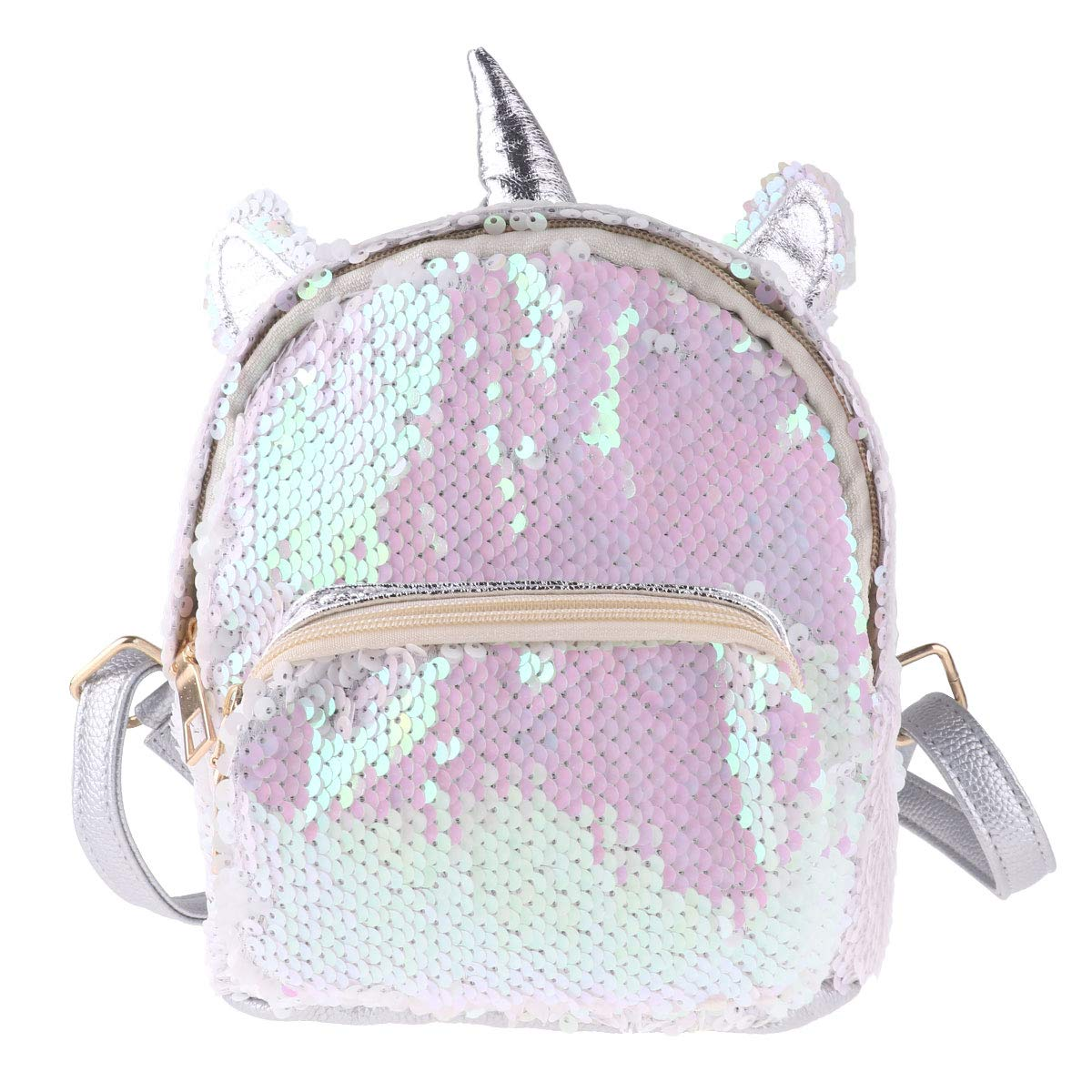 Amazon.com | Freebily Girls Mini Cute Dazzling Glittery Sequins PU Backpack Daypack Shoulder Travel Bag Schoolbag Satchel Silver One Size | Kids Backpacks