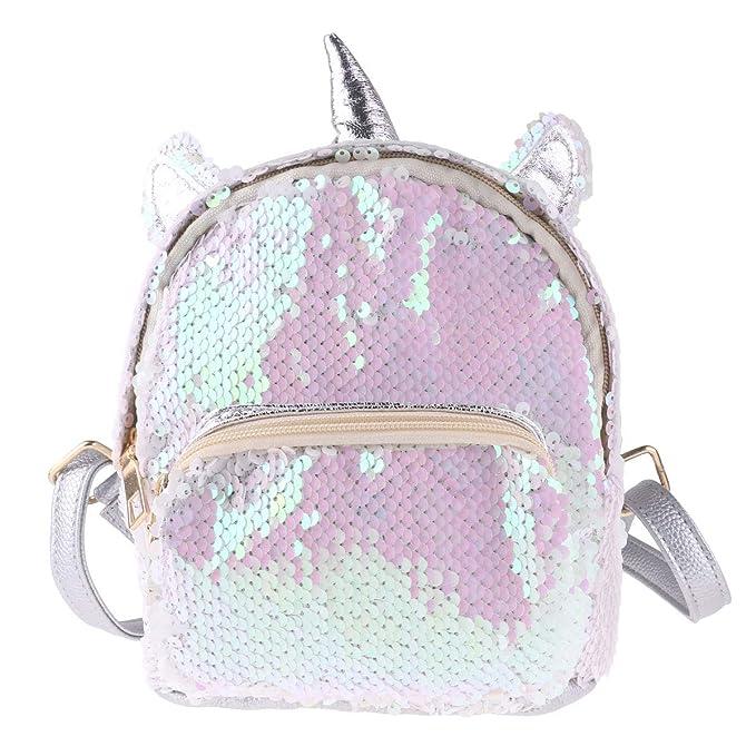Amazon.com | Freebily Girls Mini Cute Dazzling Glittery Sequins PU Backpack Daypack Shoulder Travel Bag Schoolbag Satchel Silver One Size | Kids Backpacks
